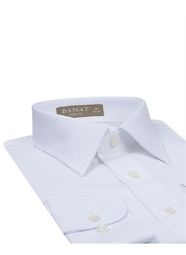 Damat 1Df02Sg27006 Slim Fit Kareli Erkek Gömlek Beyaz